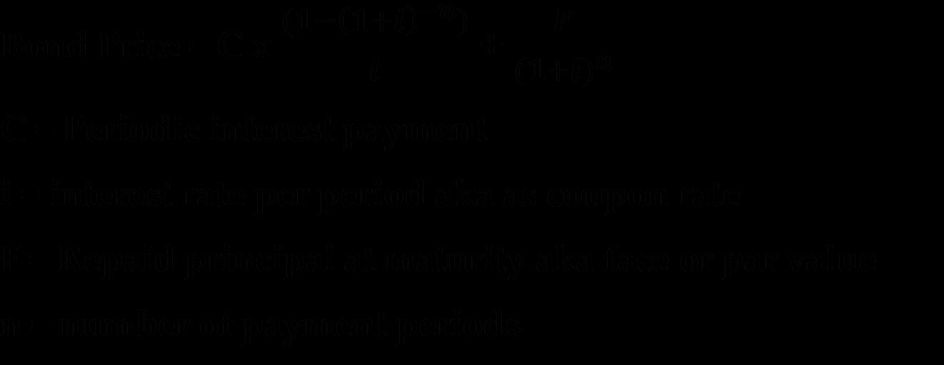 Alternative Bond Price Formula:
